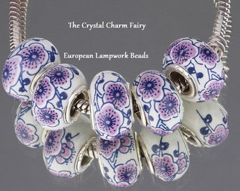 EXOTIC Purple FLOWERS On White PORCELAIN European Charm Bead / Big Hole / European / Pandora Charm Bracelets -Add to Your Collections