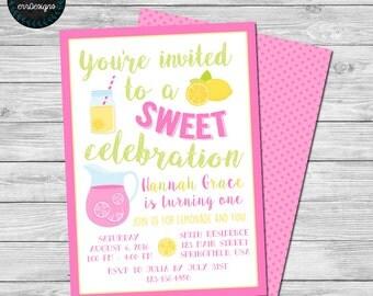 Lemonade Party Invitation, Lemonade Birthday Party Invite