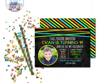 Laser Tag Invitation, Laser Tag Birthday Invitations, Laser Tag Party, Laser Tag Birthday