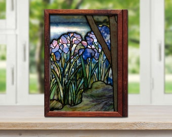 Closeup Tiffany Magnolias and Irises A4 print with free-standing or wall mountable box frame