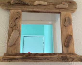 Chunky driftwood mirror with display shelf. Wall hanging, free standing. 55 x 42 cms