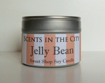 Jelly Bean Scented Soy Candle in Tin with Clear Lid