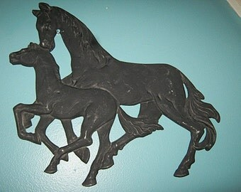 Cast Metal Double Horse Plaque, Painted Black, Mare And Colt, Wall Decor, Home Decor, Vintage Animal Plaque