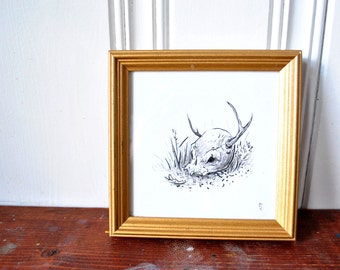 "Hunted I - Illustration, framed, 5"" x 5"""