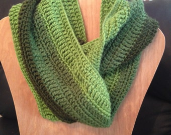 Infinity scarf, shades of green