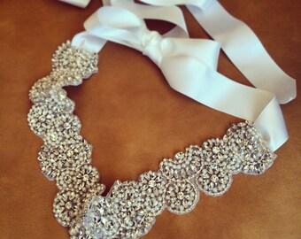 Custom made bridal sash, luxurious rhinestone bridal belt