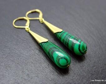 Art deco earrings, drop, stone