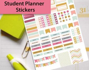 College Stickers, Student Sticker, Study Planner Stickers, Printable College Stickers, Erin Condren Stickers,  Exam Stickers