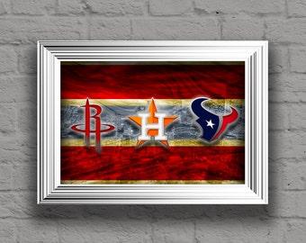 Houston Sports Art, Houston Sports Teams In Front of Skyline, Houston Astros, Houston Texans, Houston Rockets, Choose Any Team You Want