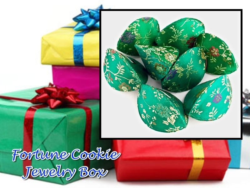 Sale set of 2 green fortune cookie gift boxes for jewelry for Fortune cookie jewelry box