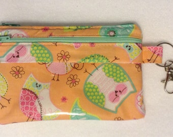 Owl pouch, iPhone5 pouch, touchscreen wristlet, sleeve