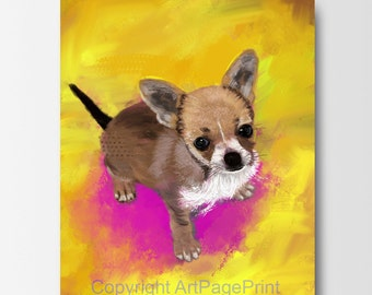 Custom Dog Portrait, Dog Painting from Photo, Chihuahua Portrait, Pet Painting from Photo, Pet painting, Pet Portrait (005)
