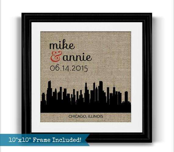 Chicago Skyline Wedding Gift Framed Art Personalized Chicago ...