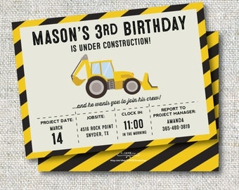 Construction Birthday Invitation: Trucks, Boy Birthday, Printable, Customizable