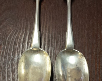 2 Russian Vintage Silver Serving Spoons