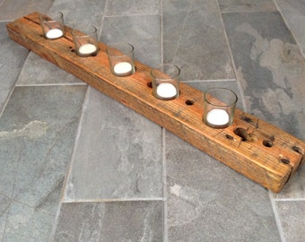 Modern and rustic reclaimed wood votive candle holder