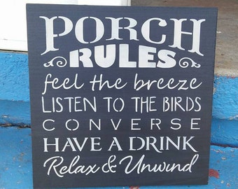 Stenciled wood sign, porch rules sign, home decor, handmade sign, subway sign