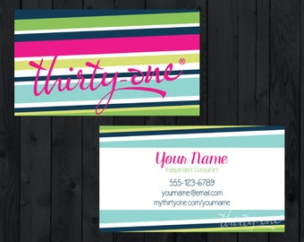 Thirty-One Consultant Business Cards - Colorful Stripes - Matte/Glossy Cards