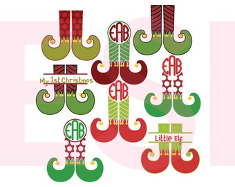 Christmas monogram svg, Elf svg, Christmas svg files, SVG, DXF, EPS & Png, for use with Silhouette and Cricut Design Space
