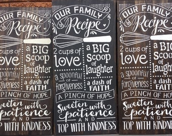 OUR FAMILY RECIPE/Kitchen Sign/Rules Signs/Housewarming/Hostess Gift/Wedding Bridal Shower Gift