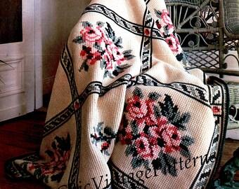 Crochet Afghan Rug Pattern ... Rose Afghan ... PDF Crochet Pattern ... Stunning Rug ... Cross Stitch Pattern ... Throw Rug .. Beautiful Gift
