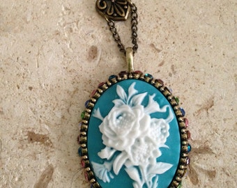 White Rose Cameo Necklace, Vintage Necklace, Blue Bronze and White Necklace, Cameo Necklace, Rose Necklace