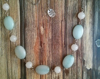 Aquamarine and White Agate Necklace