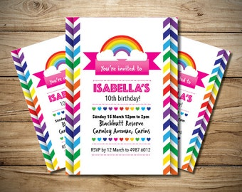 Girls Rainbow Zig Zag Pattern Invitation