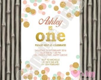 First Birthday Invite, First Birthday Invitation, 1st Birthday, Turning One, Girl Birthday, Pink, Mint, Gold Polka Dots  PRINTABLE