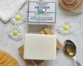Honey Soap with Dish- Artisan Soap from the Coast // Handmade Soap, Natural Soap, Chamomile, Sensitive Skincare, Draining Soap Dish, Oak