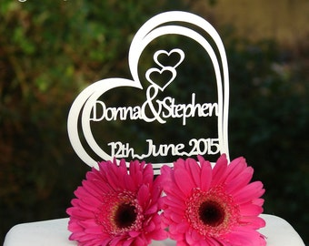 """Personalised """"2 Name"""" Heart Wedding Cake Topper - Personalise with 2 Names up to 7 Characters Long each & The Wedding Date."""