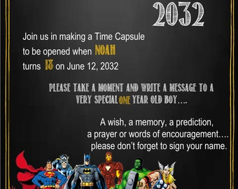 Superhero Chalkboard Time Capsule Sign for a First Birthday