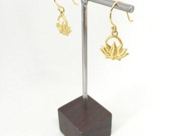 Small Dainty Brass Lotus Earrings