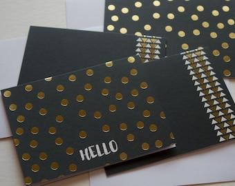 stationary cards, stationery set, blank note cards, note card set, modern stationery, gold foil stationary, gold foil note cards, art deco