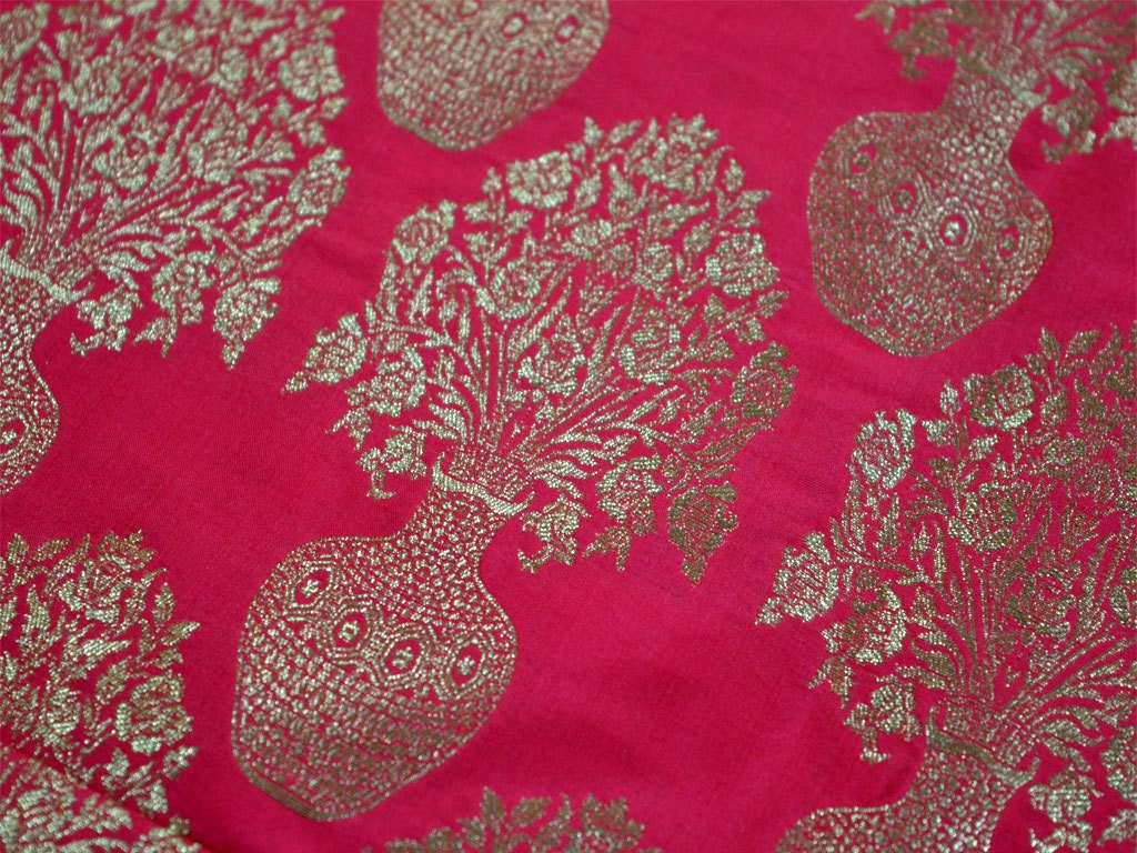 Silk Brocade Fabric By The Yard Banarasi Silk Brocade Fabric
