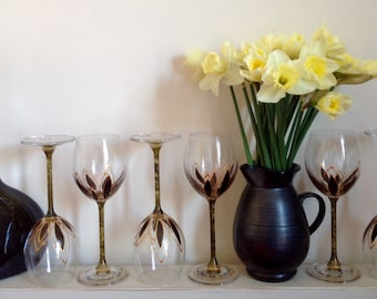 Mysterious black green& antique gold  wine glasses for WHITE WINE. Drink in style!
