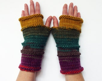Fingerless  Gloves, Knit Rainbow Gloves, Hand Warmers Multi Color Arm Warmer, Knit Gloves, Knit Accessories, Christmas gift, Outdoors gift