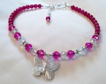 Anklet - Butterfly Anklet - Rose Pink Jade Anklet with Butterfly Charm - Boho Surf Jewellery - ButterflyLovers -