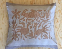 MOTHERS DAY SALE Otomí pillow Beige hand embroidered traditional Mexican pillowcase cotton