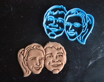 Couple — Face Portrait Cookie Cutter / Custom Couple Portrait / Weddings / Personalized gift / Personalized valentine gift / Anniversary