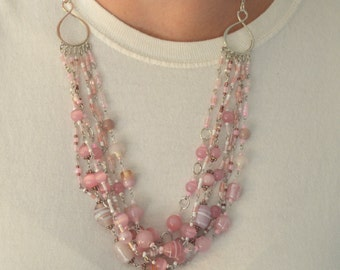 Multi-strand Pink Glass Bead Necklace