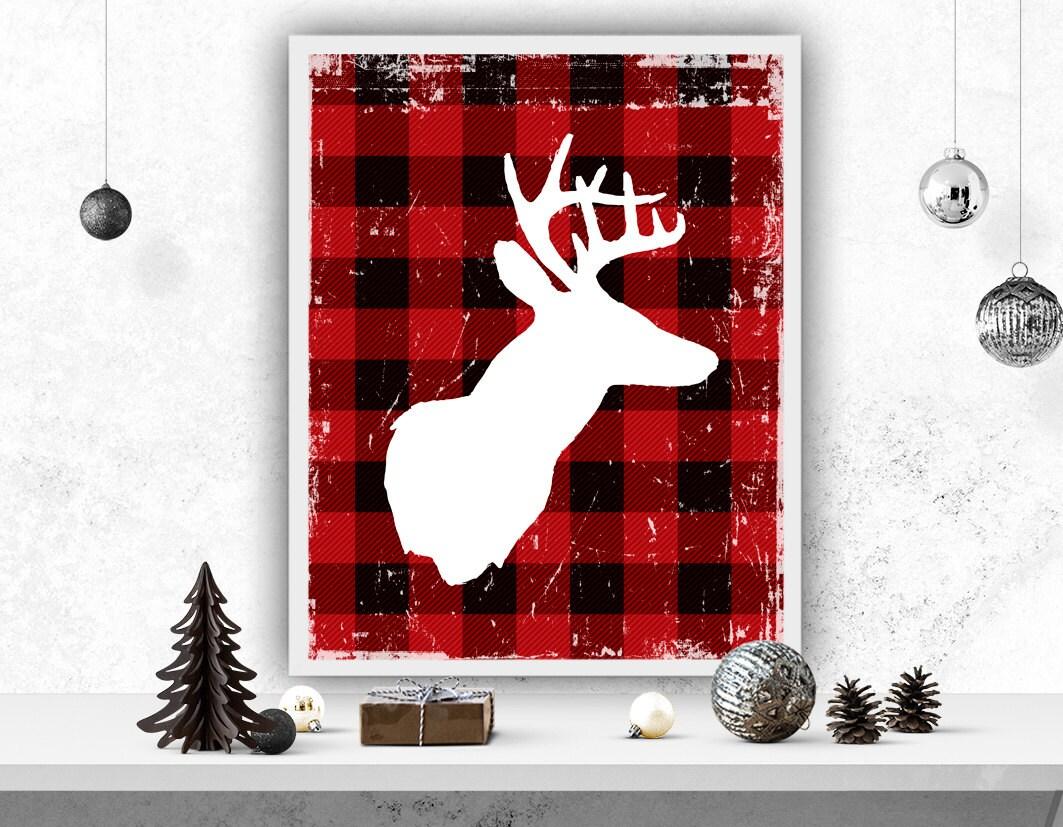 Deer poster buffalo plaid print holiday decor christmas for Holiday home christmas decorations