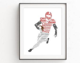 Personalized Football Player Gift, Boys Football Room Decor,  American Football Wall Art, Sports Nursery Decor Boy, Football Coach Gift
