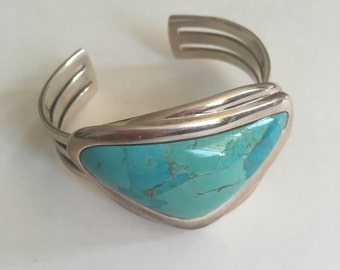 Vintage Barse Turquoise Cuff in Sterling Silver