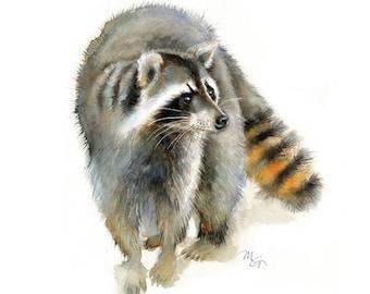 Raccoon watercolor - Raccoon Painting - Art Print - Home Wall Decor - Raccoon  Watercolor Illustration - Woodland animals