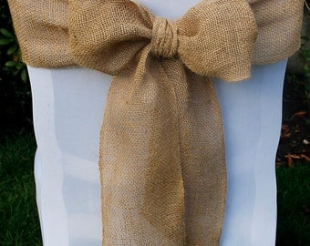 Hessian Burlap Chair Sash Bow ~ Pack of 10 Venue Decor Burlap Chair Sashes