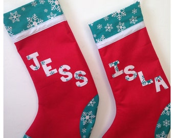 Personalised Xmas Stocking, Christmas Stocking, Name Xmas Stocking, Traditional Stocking, Stocking with Name. Choose colour, fabric and name