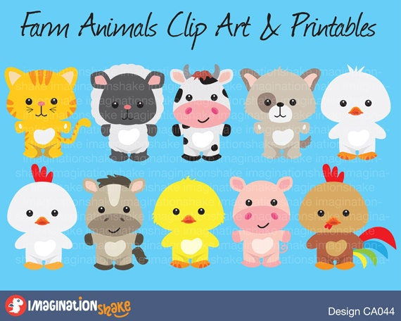 Farm Animals Clip Art & Printables Set / Clipart / Animals