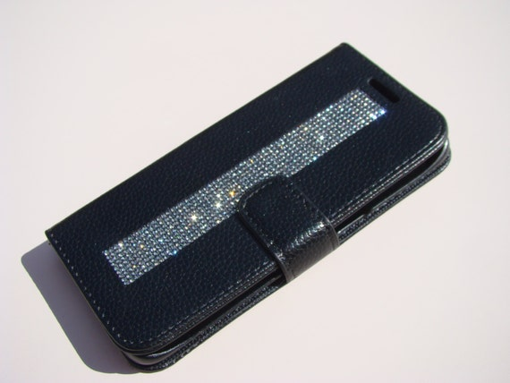 "Galaxy S7  "" Edge "" Black Diamond Rhinestone Crystals on Black Wallet Case. Velvet/Silk Pouch bag Included, Genuine Rangsee Crystal Cases."