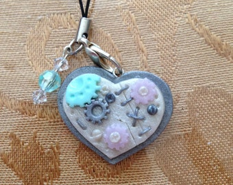 Pastel Heart Steampunk cell phone strap.